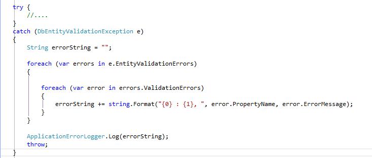 entityvalidations error